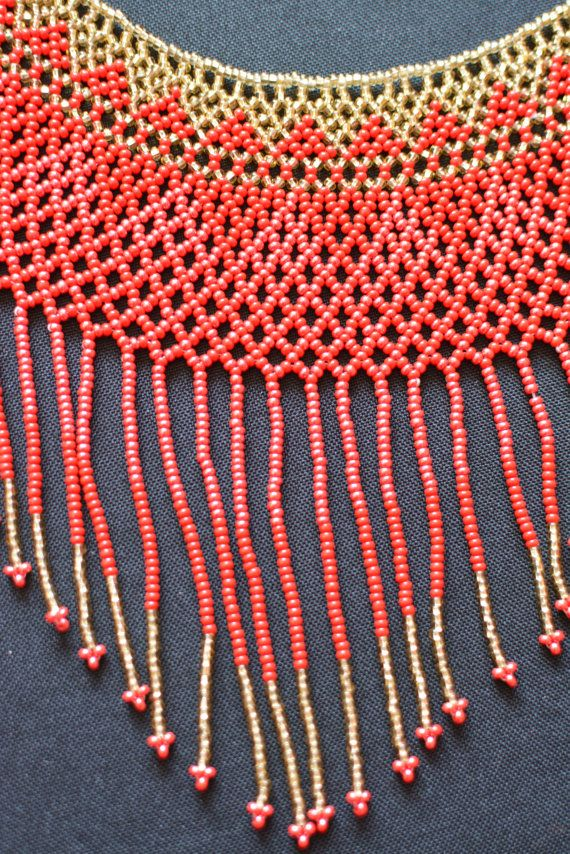 Elegante collar cuello raz flecos de mostacillas por CreationsLuz
