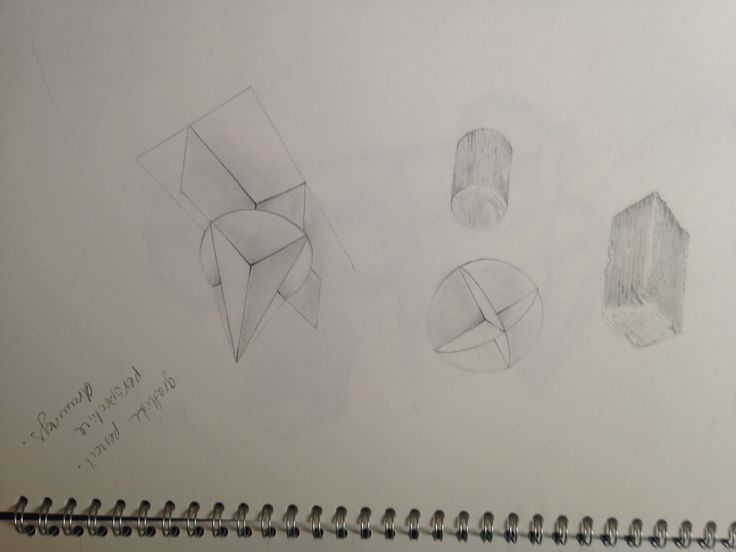 Perspective drawing of shapes using pencil