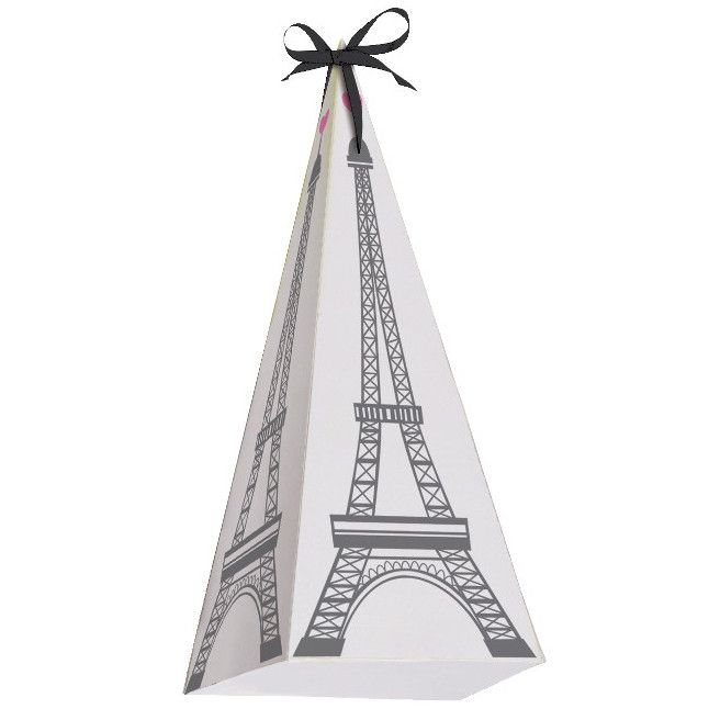 You'll love these white with black Eiffel Tower paper cone shaped favor boxes that are a fun and great way to present your guests with treats at your Party in Paris. Fill with your favorite candy in c