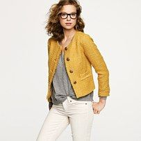 mustard and graphite: Vintage Tweed, Tweed Jackets, Style, Clothing, J Crew, Fall Jackets, Jcrew, White Jeans, Mustard Yellow