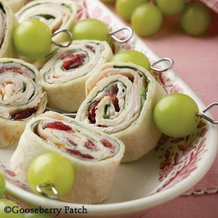 Turkey, Cream Cheese, Cranberry Sauce and Spinach Roll Ups