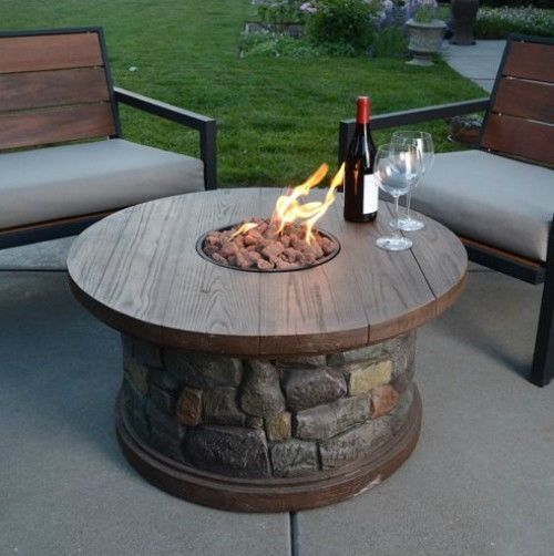 Gas Fire Pit Heater Patio Deck Pool Table Stone Outdoor