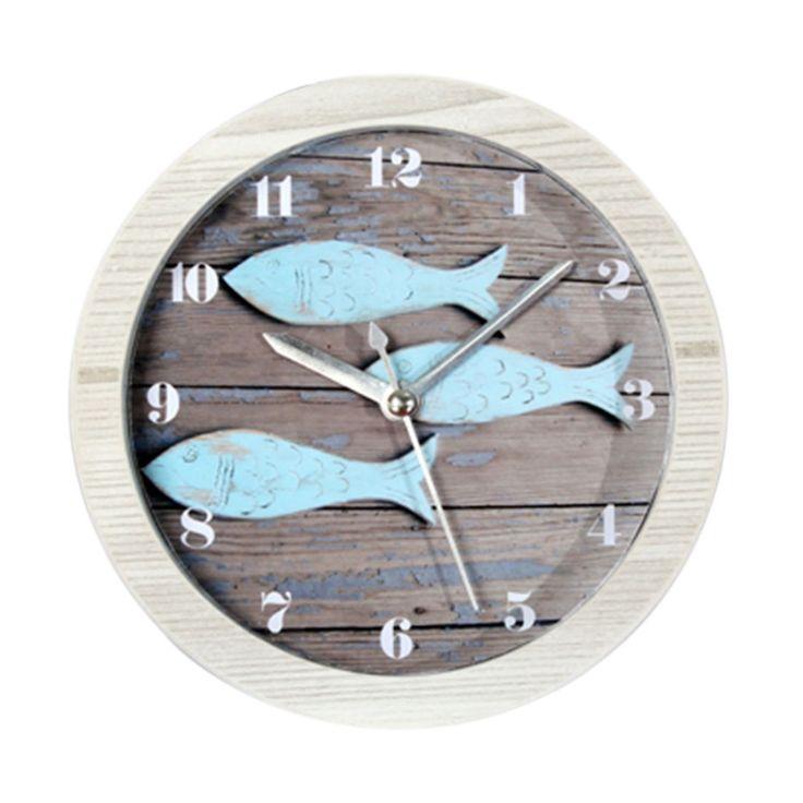 Mediterranean Style Fish Vintage Imitation Wood Grain Round Quartz Alarm Clock Silent Desktop Table Clock