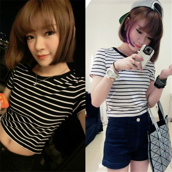 >> Click to Buy << New Women's Cotton Tees Striped Bare Midriff Crop Tops T-shirt Summer Slim Fit Shirt #Affiliate