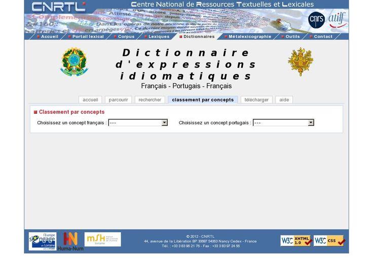 CNRTL : Centre National de Ressources Textuelles et Lexicales - Dictionnaire d'expressions idiomatiques Français-Portugais