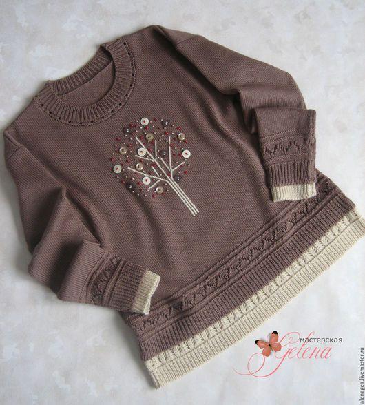 """Одежда для девочек, ручной работы. Ярмарка Мастеров - ручная работа. Купить Джемпер для девочки """"Сказочное деревце"""". Handmade. Коричневый"""