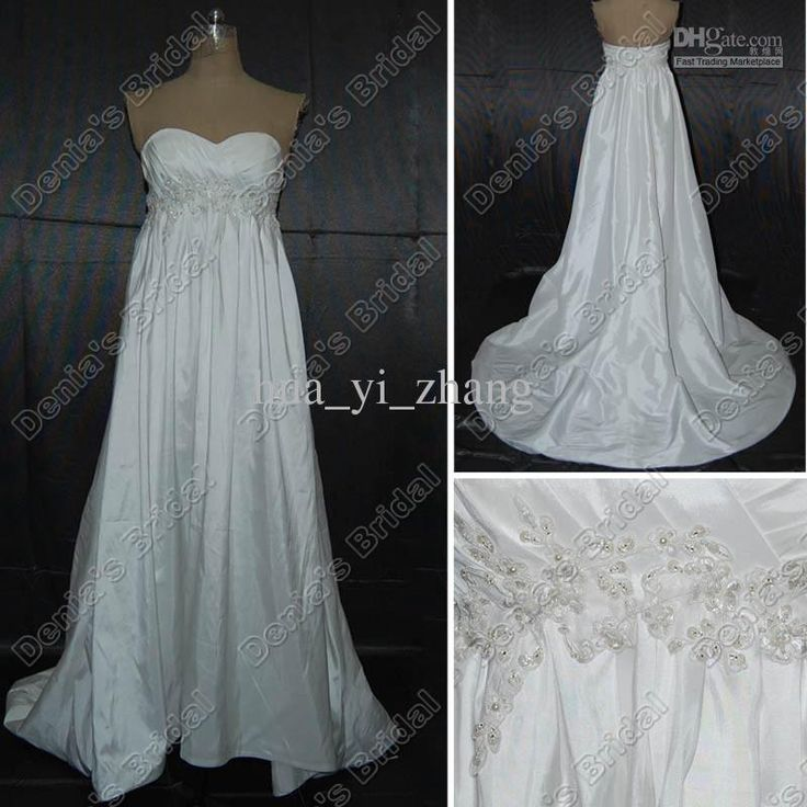Wholesale A-line Empire Pregnant Maternity Wedding Dresses Appliques Pearls Beaded Real Actual Images DB146, Free shipping, $145.6-159.04/Piece | DHgate