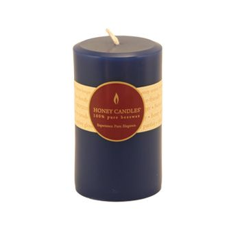 Burn Time: 55-65 Hours  Handmade with 100% pure Canadian beeswax and lightly colored with toxin-free blue dye, you'll love the long-lasting, warm glow and scent of Honey Candles® Blue 5x3 Round Pillar.