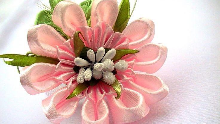 Цветы Канзаши Мастер Класс / Ribbon Flowers How to Make / DIY Ribbon Flo...