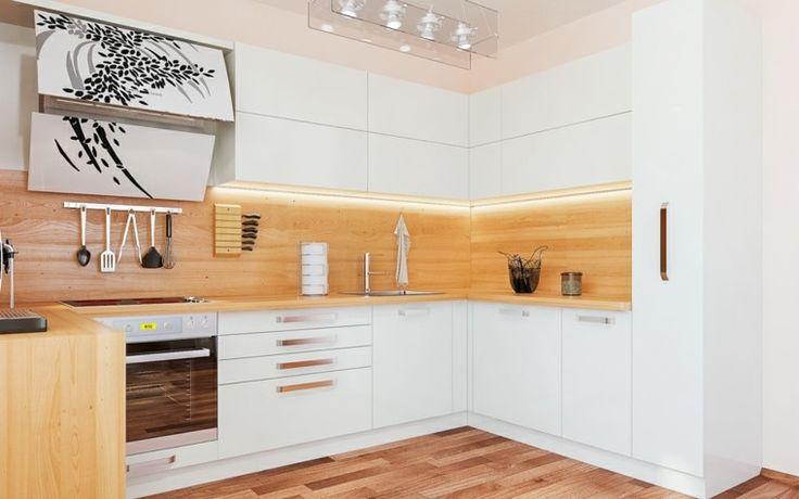 bonita cocina moderna con laminado de madera
