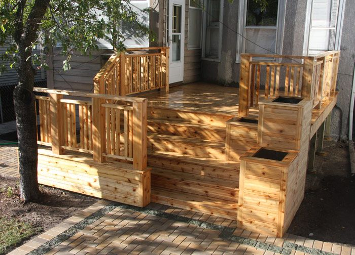 36 best images about house built in planter boxes on for Box steps deck
