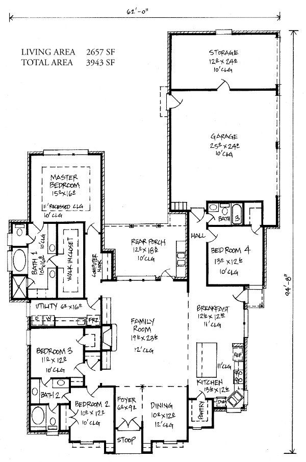 Adele - Country French Home Plans Louisiana House Plans