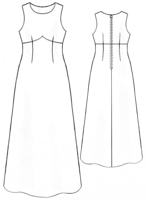 Long Dress With Shaped Yoke - Sewing Pattern #5191 - $2.49 (Enter your measurements for a custom-size pattern!)