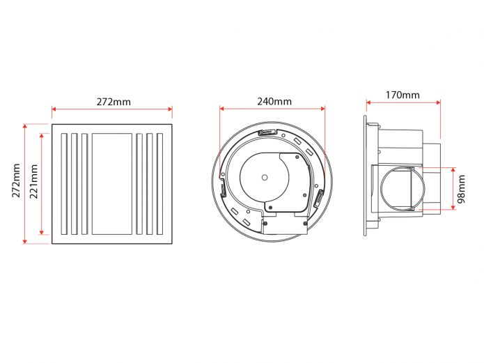 Kado Lux LED Exhaust Fan White (Technical Drawing)