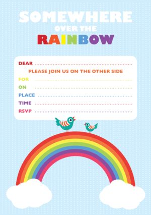 Download this cute rainbow inspired invitation from our website.