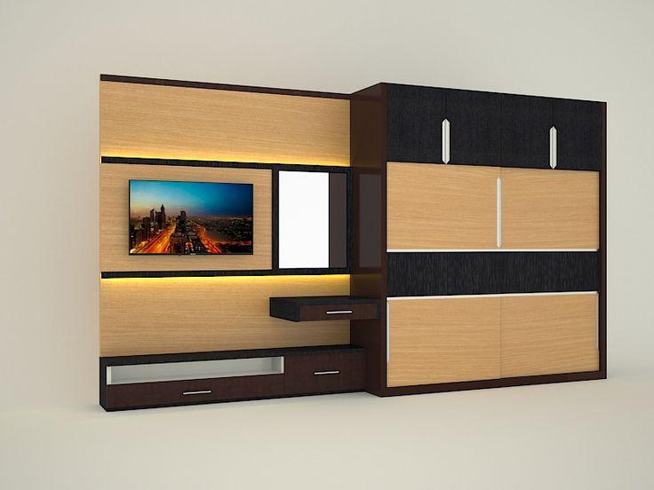 Jasa desain dan pembuatan wardrobe dan backdrop tv