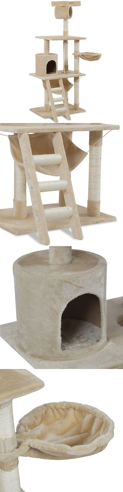 Furniture and Scratchers 20740: Deluxe Cat Tree Furniture Scratching Post Kitty Condo Pet House Tower 62 Almond -> BUY IT NOW ONLY: $49.99 on eBay!