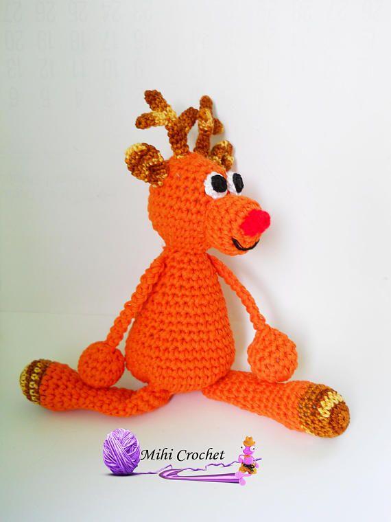 Rudolph the Reindeer crochet pattern pdf  Amigurumi reindeer