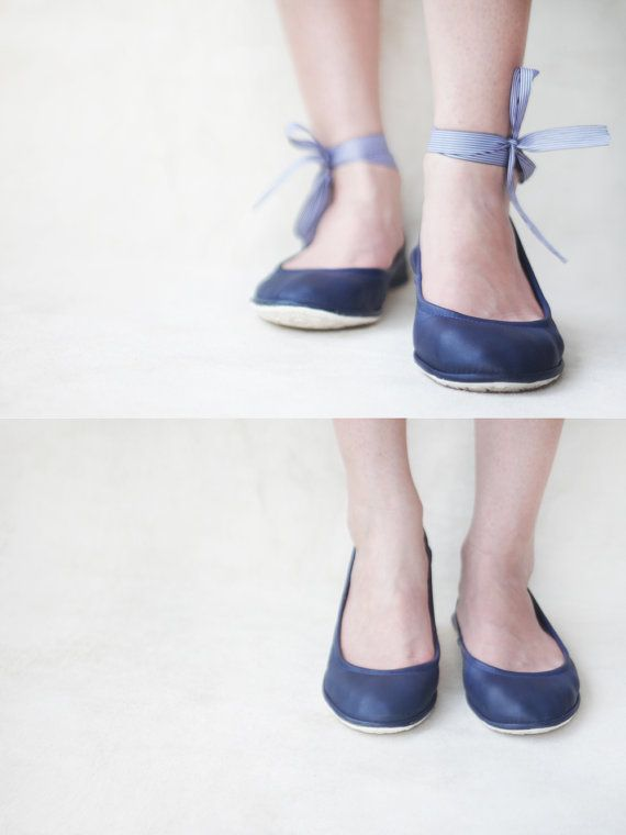The Navy Hip flat shoes are custom and handmade. They are made out of high  quality genuine Navy blue leather and they feature a black and