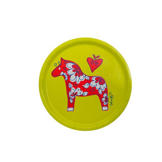 Swedish Dala horse tray Tröskö design by TroskoDesign on Etsy
