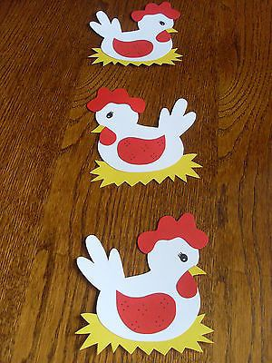 Fensterbild - Kette Tonkarton basteln Deko Frühling Ostern Hühner Huhn Stroh NEU