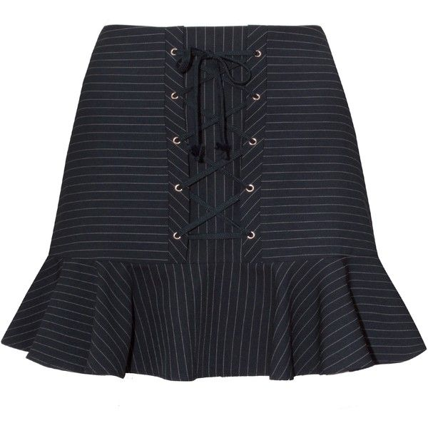 Mayla Navy Striped Corset Mini Skirt ($114) ❤ liked on Polyvore featuring skirts, mini skirts, navy pinstripe skirt, stripe skirt, navy blue skirts, lace up skirt and striped skirts