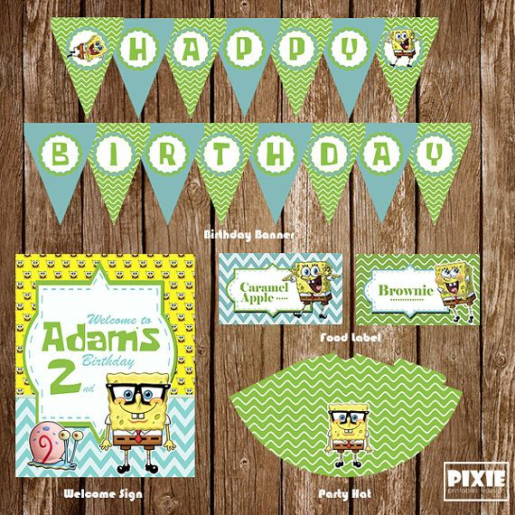 Spongebob Birthday Party Mega Pack, Spongebob Birthday Decorations, Spongebob Printable Party, Spongebob Custom Party, Spongebob Invitation