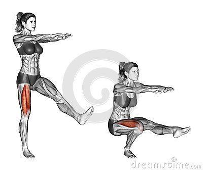 Fitness exercising. Pistol Squat. Female