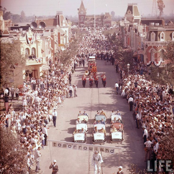 Disneyland opening day 1955 - Main Street parade. From Life Magazine, photos by Allan Grant and Loomis Dean. Color corrected by United Style