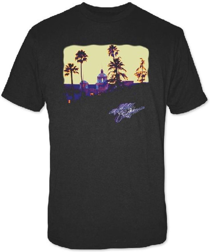 Eagles Hotel California Album Cover Artwork Men's Black T-shirt | Rocker Rags