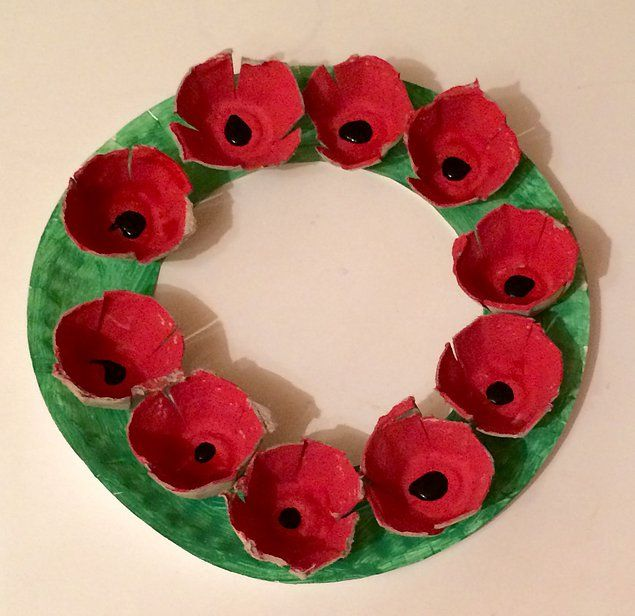 Remembrance Day Wreath Egg Carton Preschool Craft