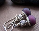Wine Cellar Earrings Lampwork Glass Bead with Sterling Silver Earrings