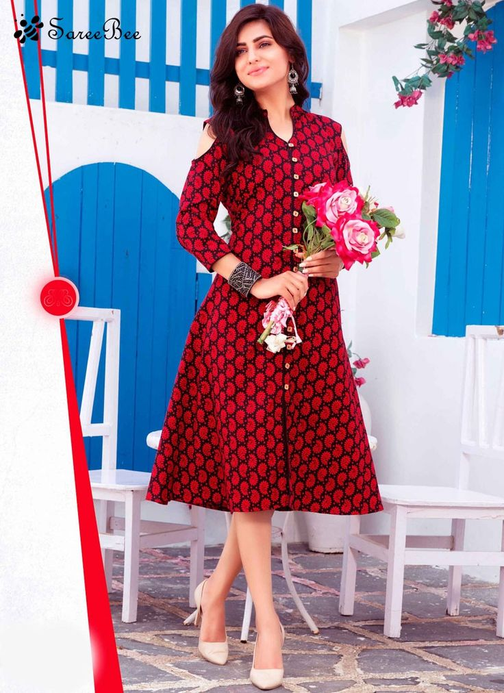 Sterling Cotton Print Work Party Wear Kurti  Add grace and charm towards the look in this red cotton party wear kurti. The wonderful print work in the course of the attire is awe inspiring.