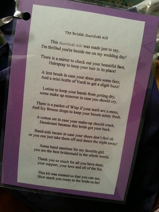 Made my girls bridal survival kits! Here is the poem that goes along with it!