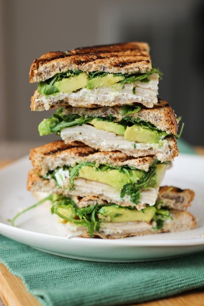 Turkey, Avocado, & Goat Cheese Panini---add celery and possibly sunflowr seeds (omit turkey?)