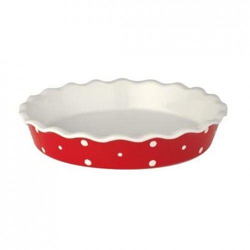 Pités tál - piros, fehér pöttyös - KERÁMIA termékek - Édes Álmok Webáruház