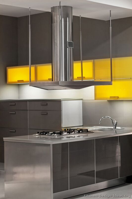 607 best images about modern kitchens on pinterest dark for Gray and yellow kitchen ideas