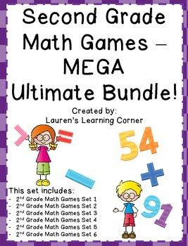 In need of math activities that can be used for a variety of purposes? This MEGA ultimate bundle set includes six sets of math games for a total of 42 games! NO PREP!  Just print and use!These games address a variety of math skills and content including: addition and subtraction (single digit, double digit, triple digit), place value, comparing numbers, fact fluency, even and odd numbers, adding and subtracting 10 and 100, money, time, data and solving story problems!