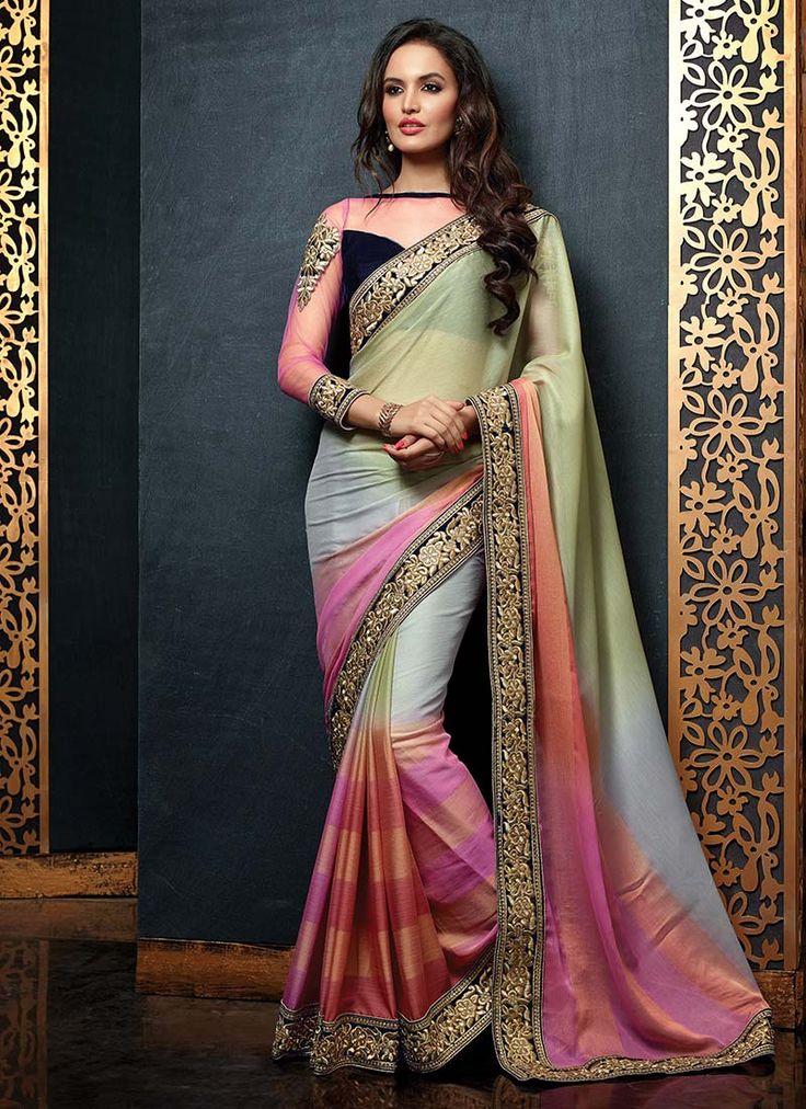 Multicolored Chiffon Saree. Neat colours!!