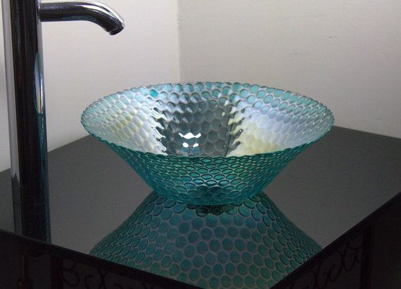 13 13in Small Blue Turquoise Cobalt Modern Contemporary Glass Vessel Bathroom Sink