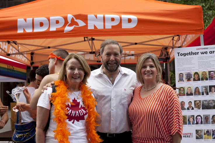 Peggy Nash, Thomas Mulcair and Andrea Horwath celebrate Pride in Toronto