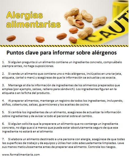 Puntos claves para informar sobre alérgenos