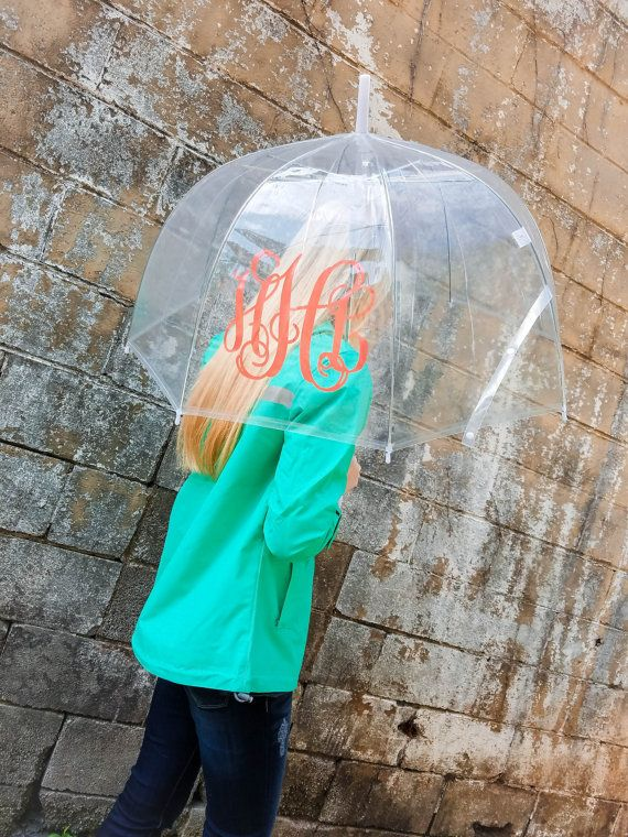 SALE Monogrammed Umbrella  Clear Dome Umbrella  by EverlyGrayce