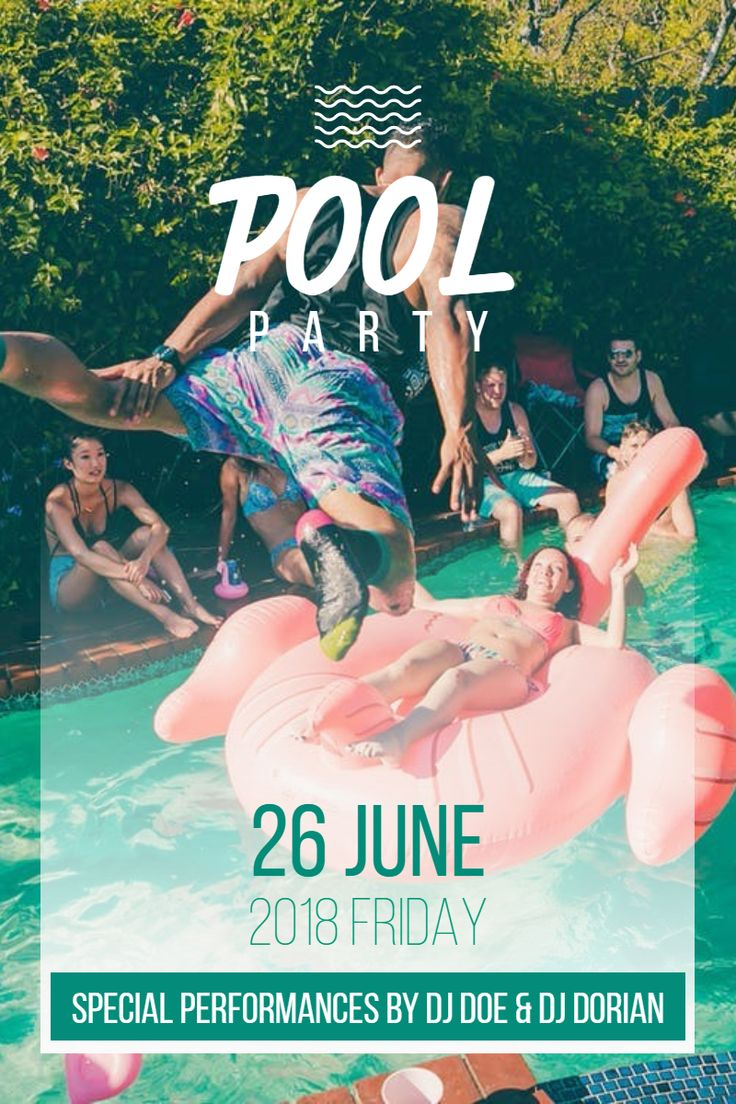 Image template: POOL PARTY 26 June 2018 FRIDAY ... | PixTeller | 95552