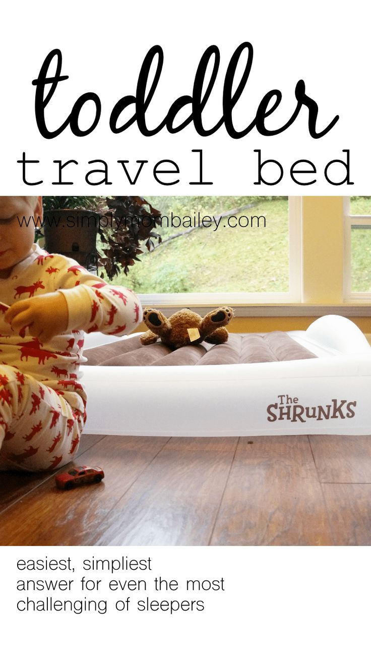Travel Toddler Beds - Travel beds for kids. A night at Grandma's is now easier with a toddler sized inflatable mattress. The Shrunks Toddleraire Mattress is the perfect size and shape for any family travel adventure offering a safe comfortable place to sleep. #familytravel #best #babygear The Shrunks Indoor Tuckaire™ Toddler Travel Bed