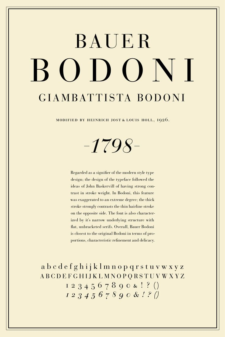 Until the advent of the computer era, the font designed by and named for Giambattista Bodoni was the standard headline font for most American newspapers. The common one was heavier and sturdier than this, but the bones were the same.: