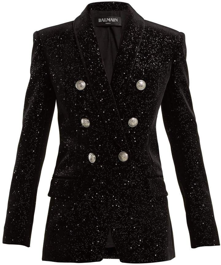 6f874b59 Double-breasted glitter velvet blazer #glitter#slim#silver | Fashion ...