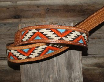 Mens or Ladies western leather inset by Deesbeadeddogcollars