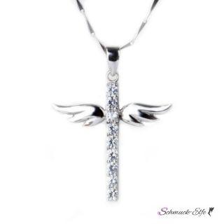 Kreuz Anhänger Angel  925 Silber mit Zirkonias inkl....