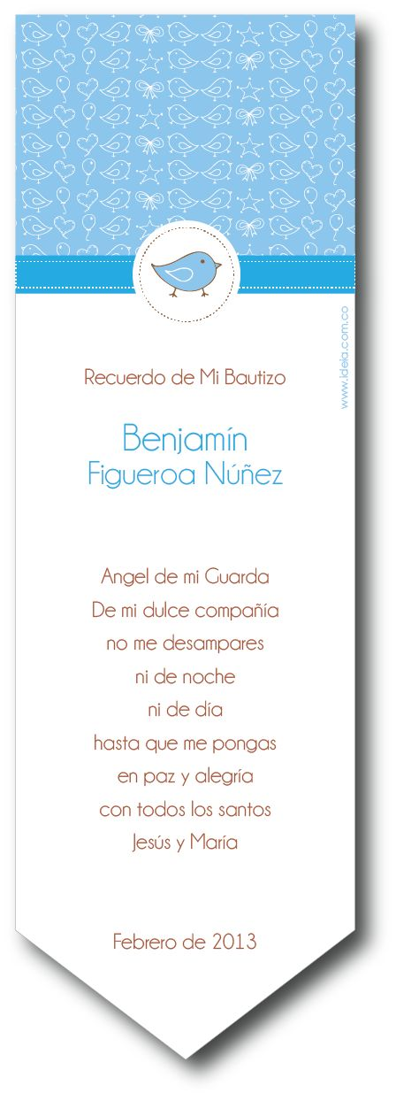 Registro Bautizo, Primera Comunión, Pajarito Azul ilustrado